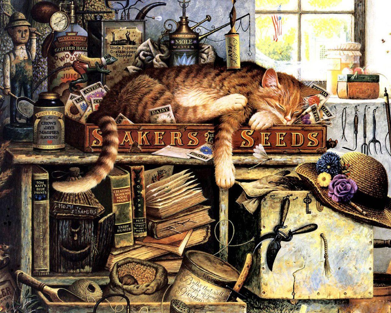 Нарисованные кошки картины