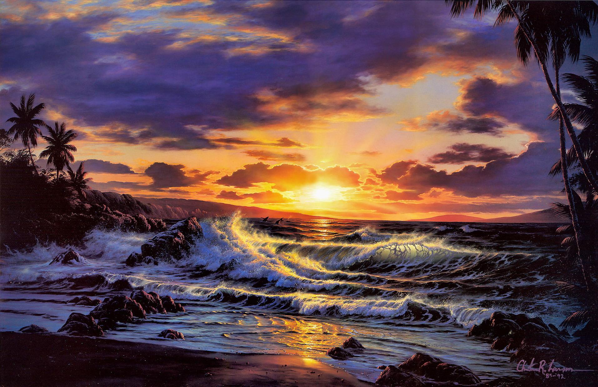 Вечерний пейзаж на море картинки