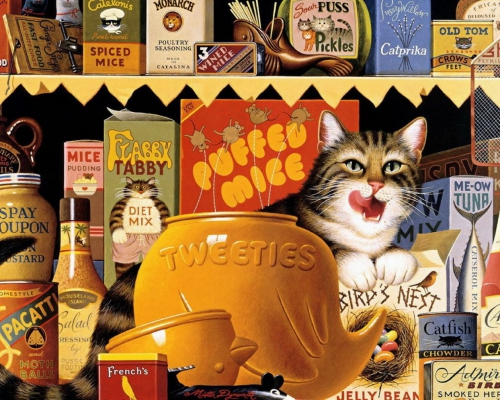 Нарисованные кошки