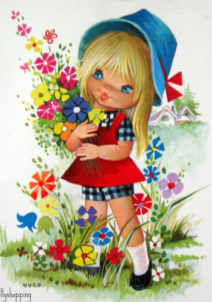Девочка с цветами открытка 20