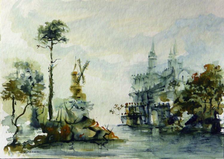 一组水彩风景画