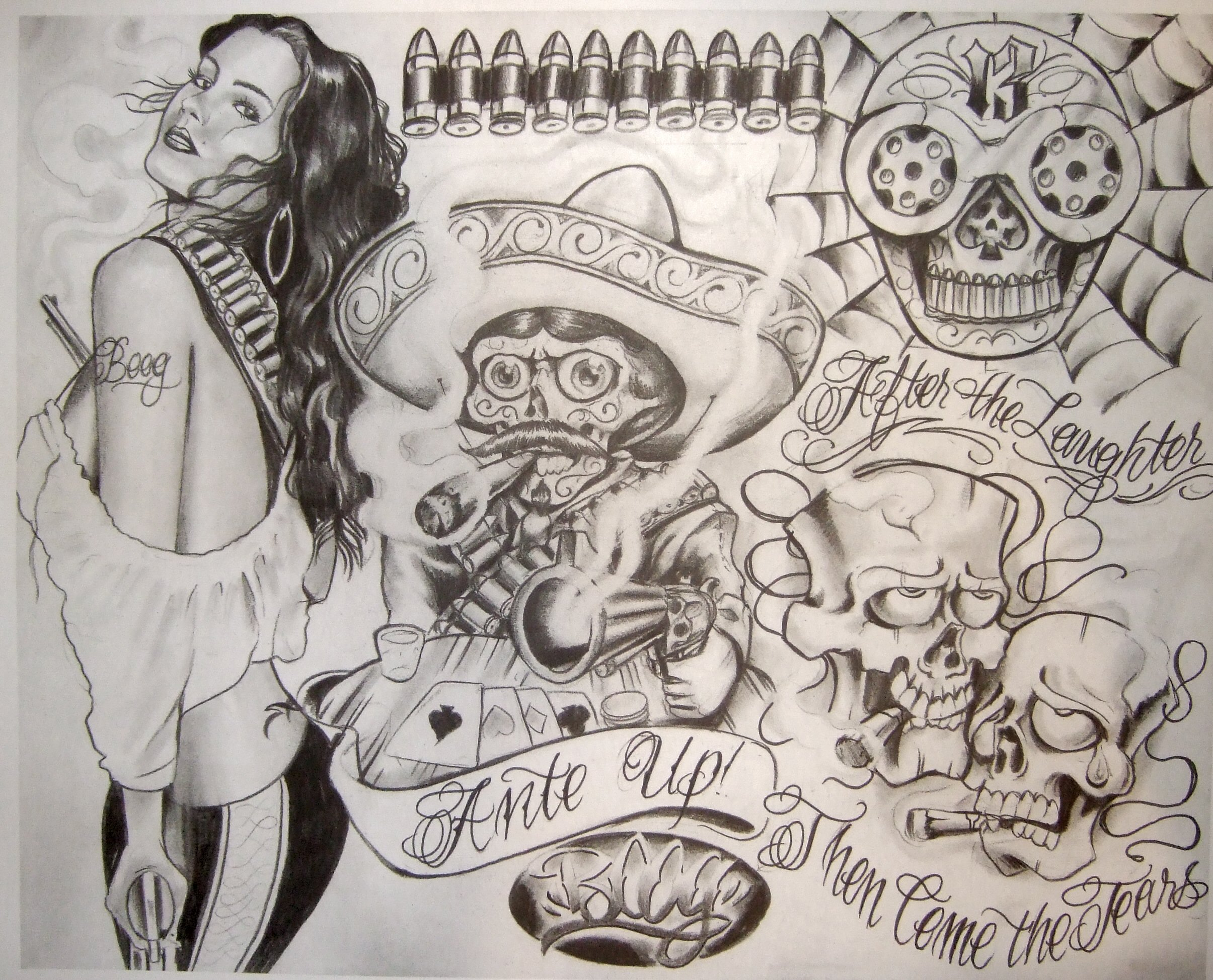 Chicano Style Tattoo Flash