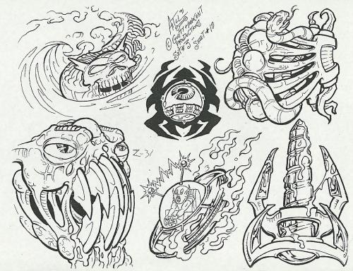 Tattoo Flash - Sheets + Lines set 2 (204 работ)