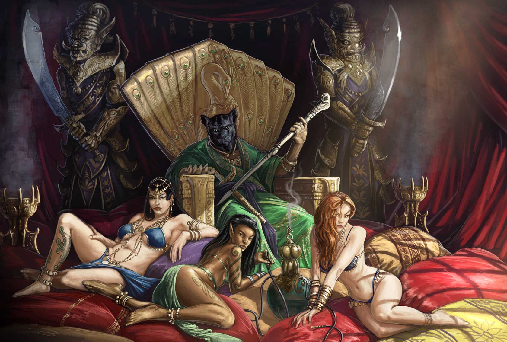 Fantasy art mistress with female slave xxx comic