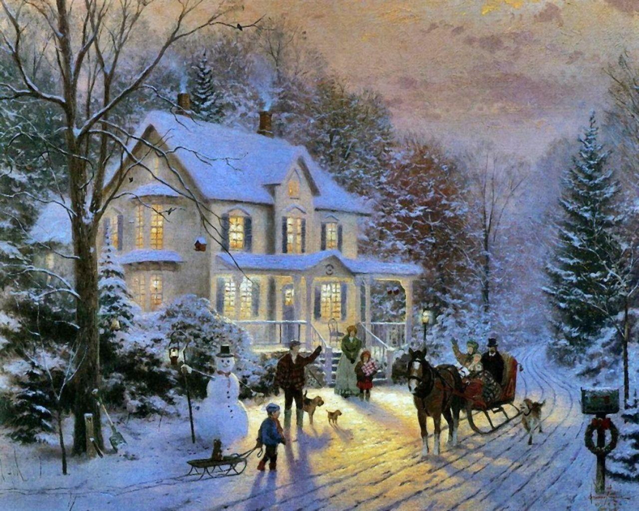 Новогодние открытки известных художников