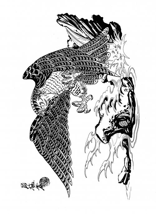 Japanese hawk tattoo designs