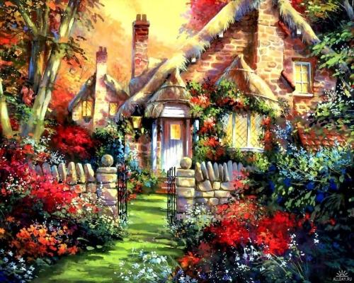 Очень яркие и милые сказочные домики, нарисованные, к сожалению, мне...