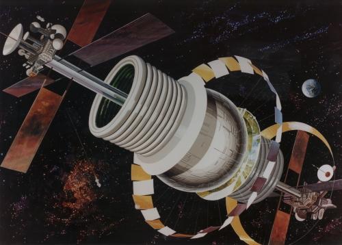 Поселения людей в космосе глазами художников 70-х. (17 работ)