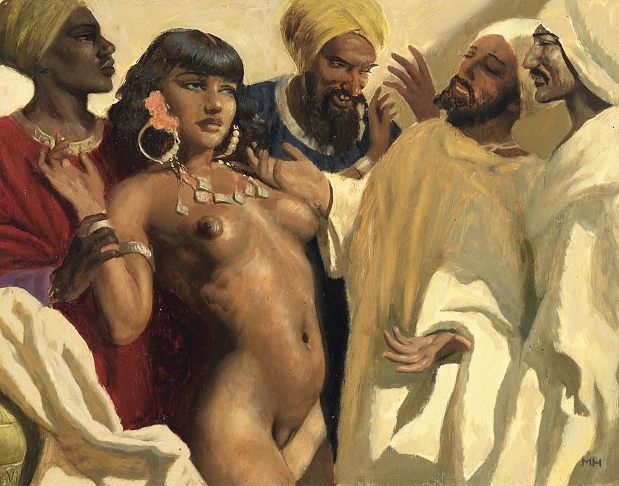Original linocut georgian artist harem erotic nude