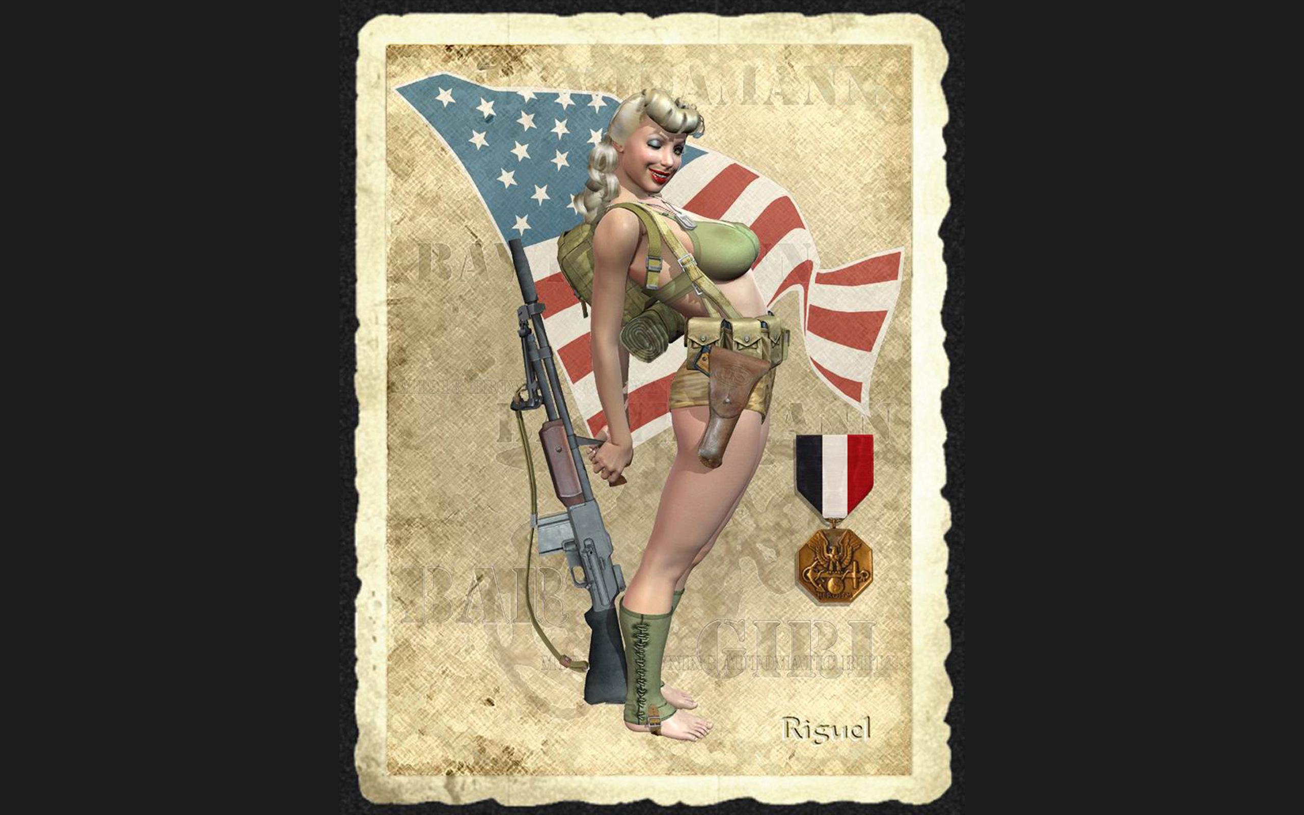 Рисованные девушки в военной 13 фотография
