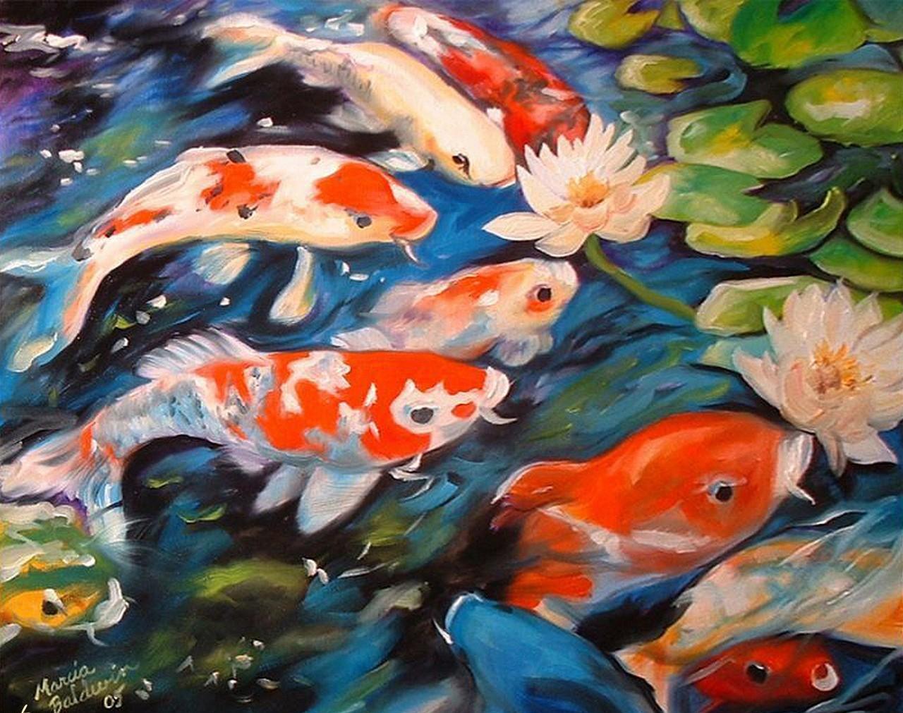 Вышивка рыба в пруду 99