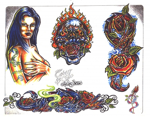 Tattoo Flash - Sheets + Lines set 4 (151 работ)