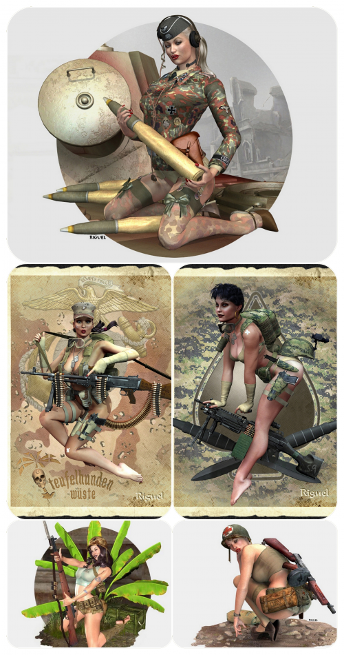 3D military girls - Designer Riguel (55 фото) (эротика)