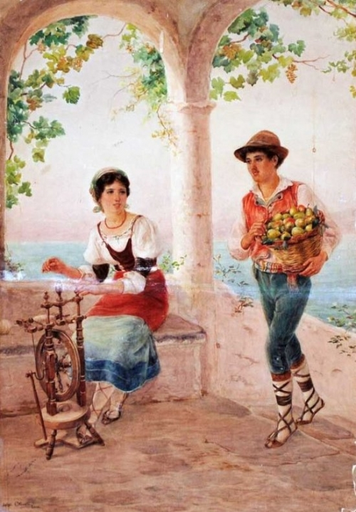 Итальянский художник Luigi Olivetti (1856-1941) (17 работ)