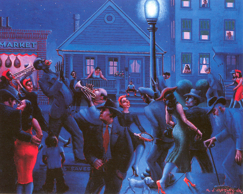 an interpretation of nightlife a painting by john motley jr