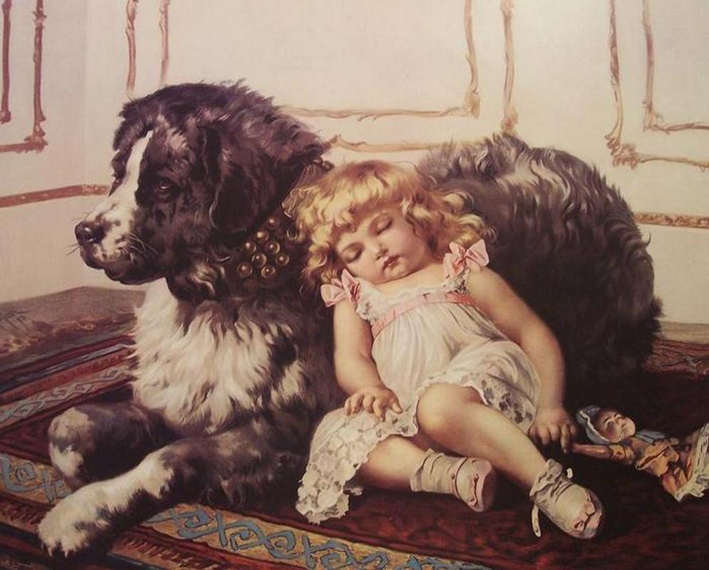 Ретро открытка девочка с котенком