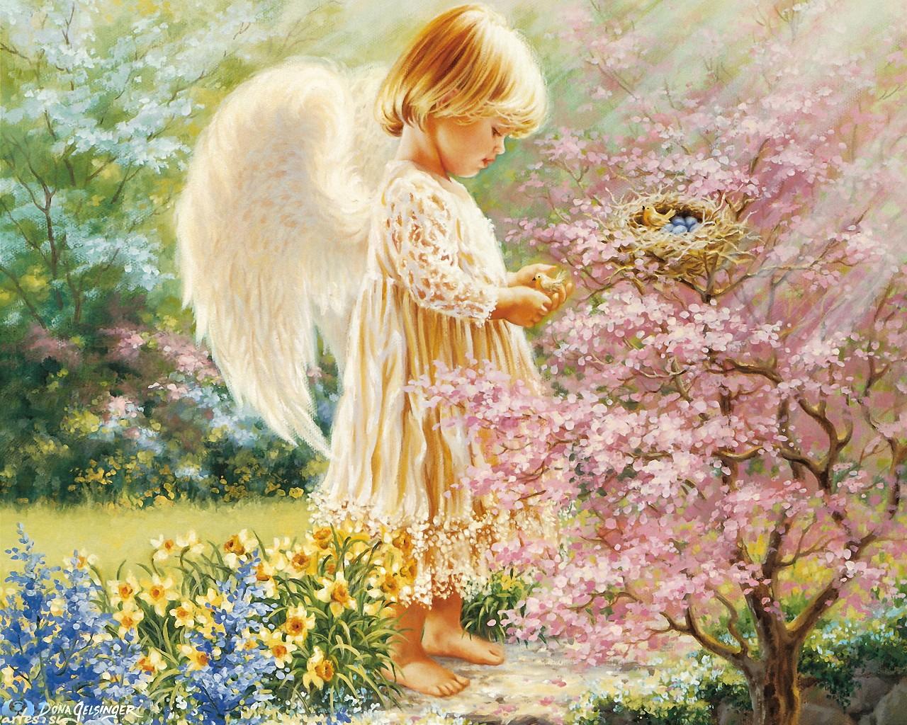 картинки с милыми ангелами дама красном платье
