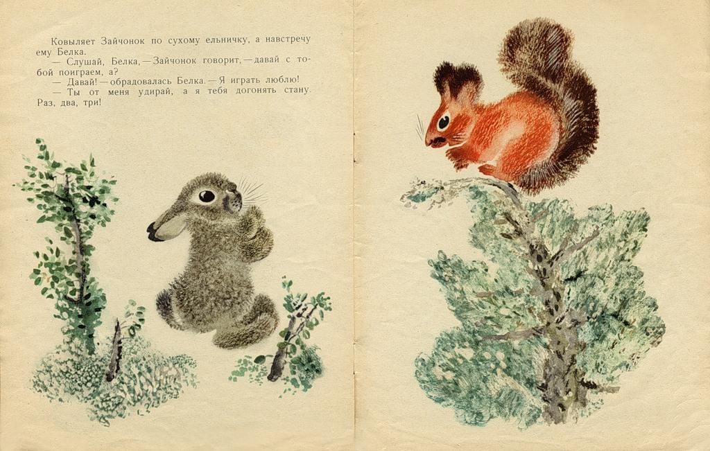 Чарушин е и иллюстрации к книге как медвежонок сам себя напугал